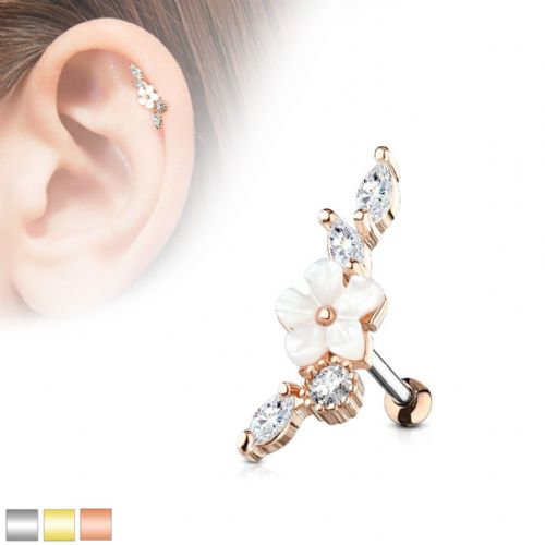 Mother of Pearl Flower Centered Cartilage Bar